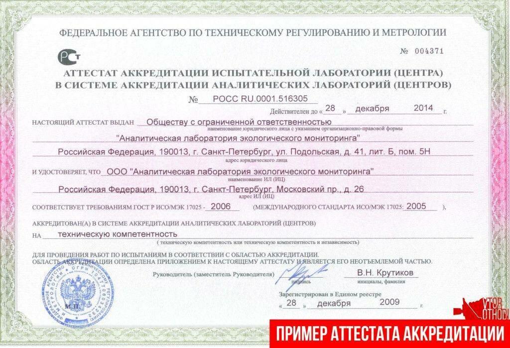Пример аттестата аккредитации