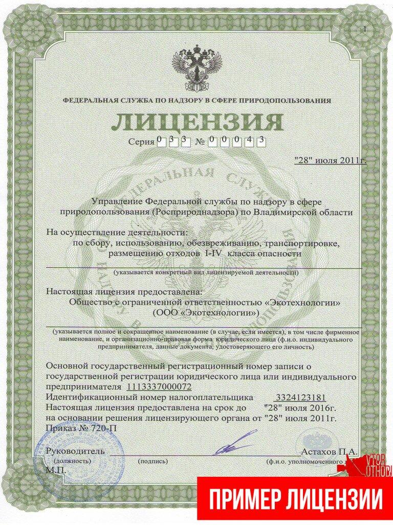Пример лицензии на утилизацию отходов